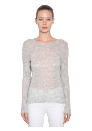 MOHAIR BLEND RIB KNIT SWEATER