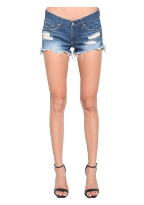 RAW HEM DESTROYED DENIM SHORTS