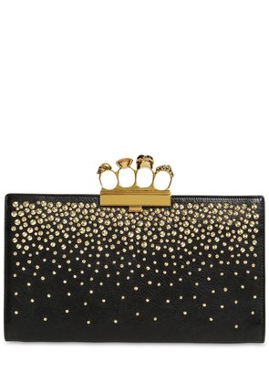 EMBELLISHED LEATHER KNUCKLE CLUTCH