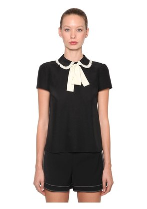 CONTRASTING BOW SILK CREPE TOP