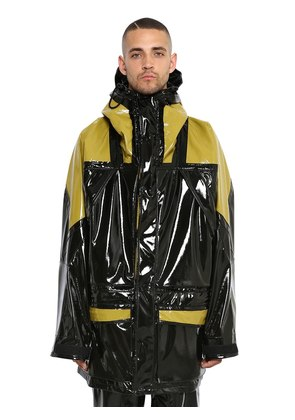 HOODED SHINY COATED JERSEY JACKET