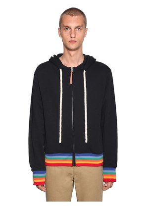 RAINBOW PRINTED ZIP-UP SWEATSHIRT HOODIE