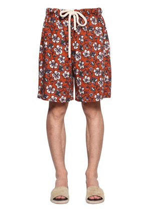 FLOWERS PRINTED VISCOSE SHORTS