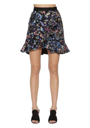 FLORAL EMBELLISHED MINI SKIRT W/ RUFFLES