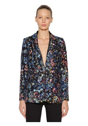 SEQUINED FLORAL BLAZER JACKET