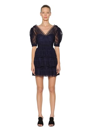 SPIRAL LACE MINI DRESS W/BALLOON SLEEVES