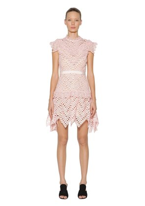 ABSTRACT TRIANGLE LACE MINI DRESS