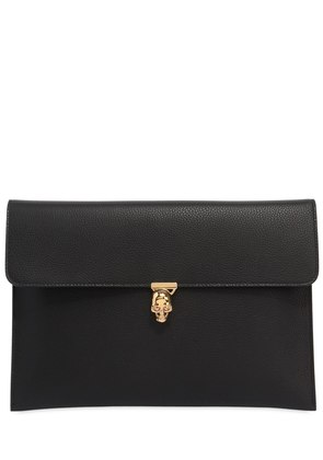 LEATHER ENVELOPE CLUTCH W/ SKULL
