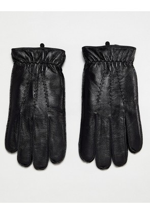 Dents Deerhurts leather gloves with faux fur lining - Black