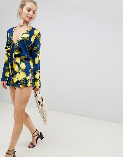 da273ea6c1 Glamorous Playsuit With Frill Shorts And Bow Front In Lemon Print ...