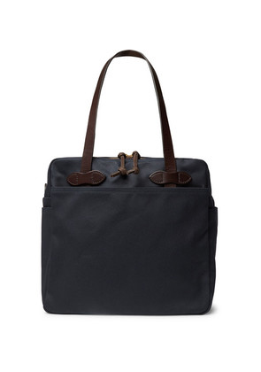 Filson - Leather-trimmed Cotton-twill Tote Bag - Navy