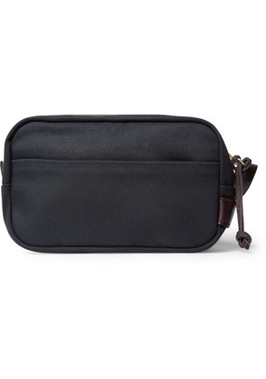 Filson - Leather-trimmed Cotton-canvas Wash Bag - Navy
