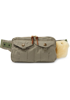 Fishing Shearling-trimmed Cotton-canvas Belt Bag