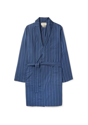 Oliver Spencer Loungewear - Medway Striped Organic Cotton Robe - Blue
