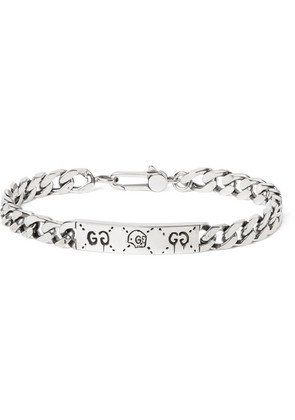 Guccighost Engraved Sterling Silver Id Bracelet