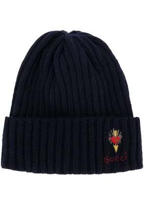 Gucci Wool hat with pierced heart - Blue
