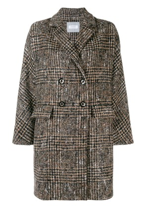 Barba checked double breasted coat - Neutrals
