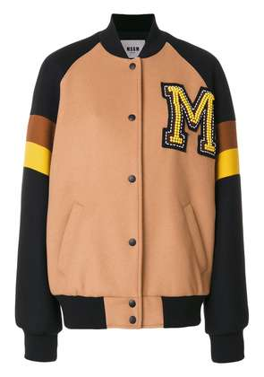 MSGM college bomber jacket - Brown