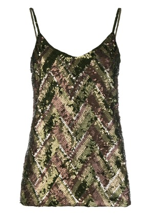 P.A.R.O.S.H. sequinned cami top - Green
