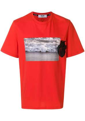 MSGM graphic heart applique T-shirt - Red