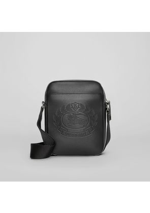 Burberry Small Embossed Crest Leather Crossbody Bag, Black