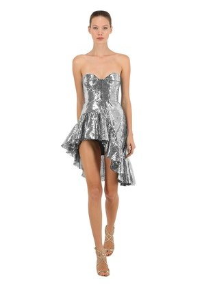 STRAPLESS SEQUINED ASYMMETRICAL DRESS