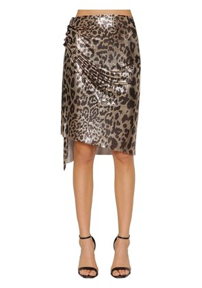 LEOPARD METAL MESH SKIRT