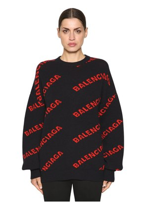 OVERSIZED LOGO WOOL JACQUARD SWEATER