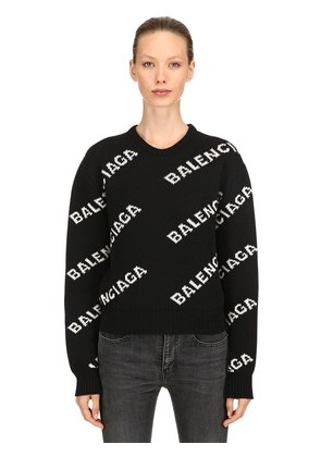 LOGO WOOL JACQUARD CROPPED SWEATER