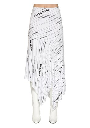 LOGO PRINTED COTTON JERSEY SKIRT