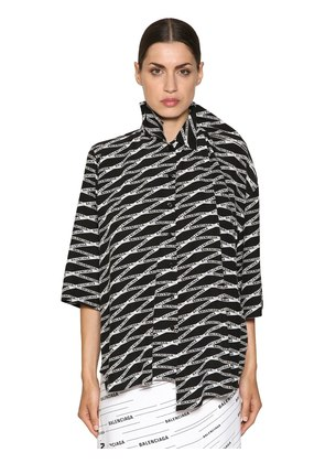 OVERSIZED LOGO PRINTED SILK CREPE SHIRT