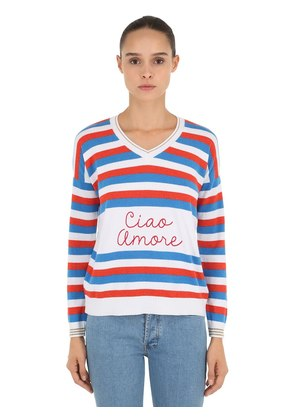 CIAO AMORE EMBROIDERED INTARSIA SWEATER