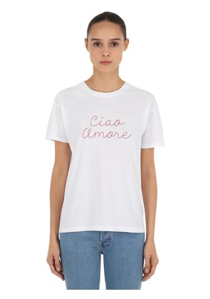 CIAO AMORE EMBROIDERED JERSEY T-SHIRT
