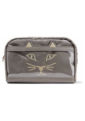 Charlotte Olympia Woman Purrrfect Embroidered Shell And Pvc Cosmetics Case Gray Size -