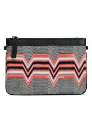 Missoni Woman Leather-trimmed Intarsia-knit Pouch Black Size -