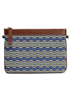 Missoni Woman Leather-trimmed Intarsia-knit Pouch Multicolor Size -