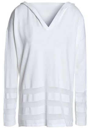 Autumn Cashmere Woman Paneled Cotton Hooded Top White Size S