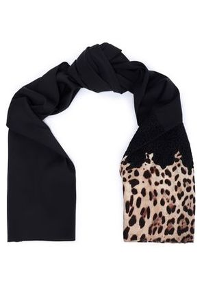 Dolce & Gabbana Woman Lace-trimmed Leopard Print-paneled Silk-blend Scarf Animal Print Size -