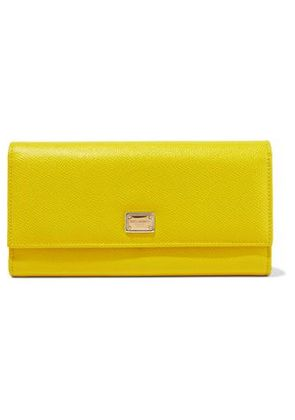 Dolce & Gabbana Woman Textured-leather Wallet Yellow Size -