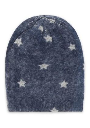 Autumn Cashmere Woman Printed Cashmere Beanie Navy Size ONESIZE