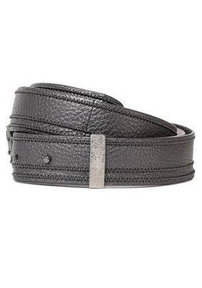 Brunello Cucinelli Woman Metallic Bead-embellished Pebbled-leather Belt Gunmetal Size M