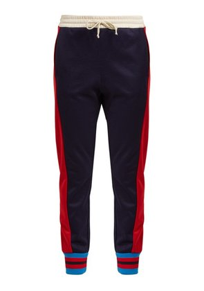 Gucci - Side Striped Mid Rise Jersey Trousers - Womens - Blue Multi