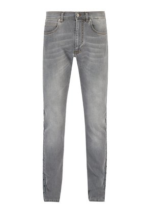 Versace - Logo Stripe Straight Leg Jeans - Mens - Grey
