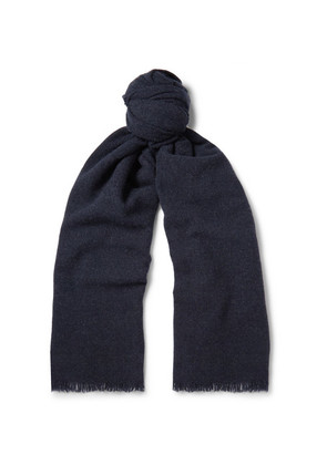 Begg & Co - Beaufort Wool And Cashmere-blend Scarf - Midnight blue