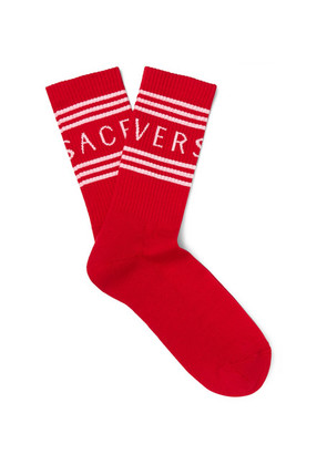 Logo-jacquard Ribbed Stretch Cotton-blend Socks