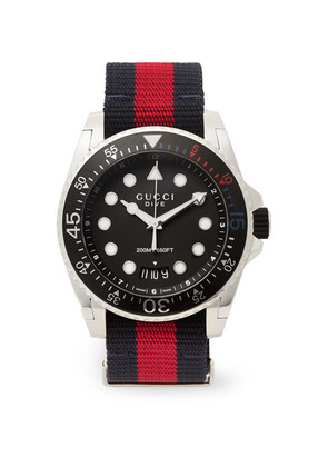Gucci Dive Stainless Steel And Webbing Watch