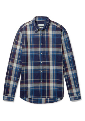 New York Special Checked Indigo-dyed Cotton-twill Shirt