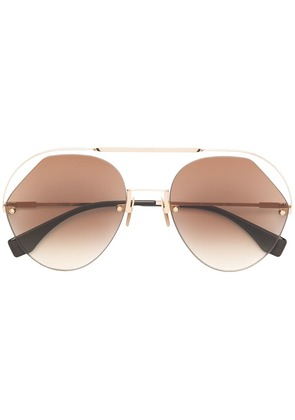 Fendi Eyewear geometric framed Aviator sunglasses - Metallic