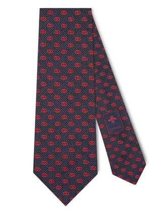 Gucci Silk tie with GG pattern - Blue