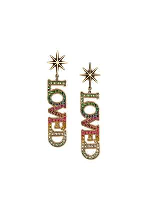 Gucci Loved pendant earrings with crystals - Gold